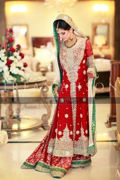 Pakistani Bridal Wear- needs to fitted a bit better and shorter shirt would be nice. Design is pretty :)
