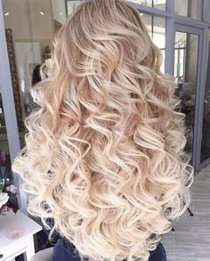 long curly hairstyle | loose | full | volume | blonde | ombre | platinum | blonde | flat iron | wand