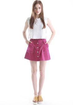 FYVFYV Stitch Button-down Skirt @fyvfyv