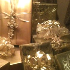A few of my Christmas gifts that I love to wrap and handmake my bows