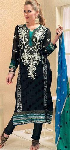 $77.20 Black Full Sleeve Jacquard Knee Length Punjabi Salwar Kameez 18315