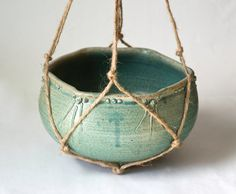 Light Blue Green Hanging Planter, Handmade Hemp Hanger, Wheel Thrown Pottery, Flower Pot
