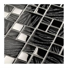 Exotic glass mosaic with glossy mottled-glittered effect and metallic effect chips both in silver or gold version. Thickness 8 mm, on mesh. Ok wall. Cork Wood, Mosaic Glass, Mosaics, Black Silver, Boxer, Exotic, Chips, Metallic, Mesh