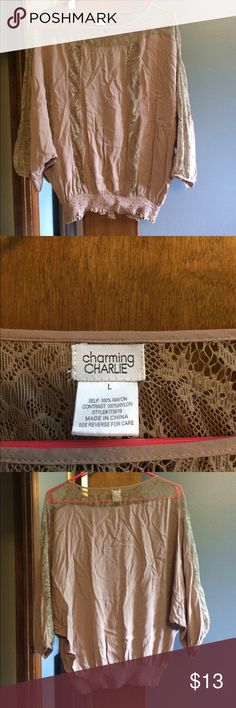 Charming Charlie's shirt Cute too with lace and fitted at bottom Charming Charlie Tops Blouses