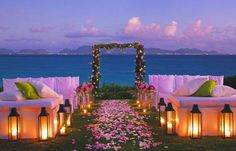 Sunset wedding! I like the seating!