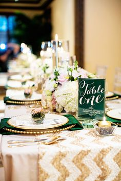 :: THE RECEPTION :: Beautiful emerald & gold table decor & table number cards. Gold Table Decor, Decoration Table, Reception Decorations, Wedding Centerpieces, Wedding Table, Wedding Cakes, Great Gatsby Themed Wedding, Wedding Themes, Our Wedding