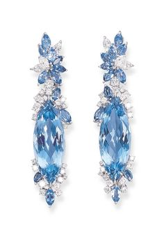 A PAIR OF AQUAMARINE AND DIAMOND EAR PENDANTS, BY MICHAEL YOUSSOUFIAN | Christie's