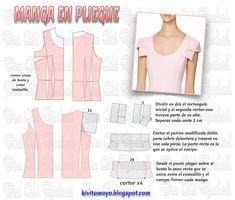 KiVita MoYo : MANGA EN PLIEGUE- Analisis y desarrollo Easy Sewing Patterns, Doll Clothes Patterns, Sewing Clothes, Clothing Patterns, Formal Dress Patterns, Blouse Patterns, Modelista, Fashion Sewing, Top Pattern