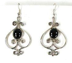 Fatoya Yazzie, Navajo NOS Onyx Wire Earrings E529