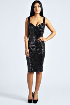 Kimmie Sequin Fitted Cups Midi Dress at boohoo.com