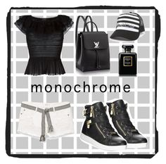 """Black & White - Sporty Style"" by pomy22 ❤ liked on Polyvore featuring Alexander McQueen, Bebe, MANGO, Chanel and monochrome"