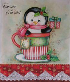 Pinguim na Xícara de Natal