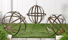 Set of 3 Iron Orb Spheres Garden Decor Lawn Art Trellis Pergola $102.00