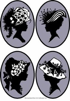 Silhouette Silver Cameos 2 on Craftsuprint designed by Susan Donaghie - Stylish sihouettes of ladies heads set as cameos against a silver background. 4 different designs, each cameo measure approx 13cm x 9.5cm - Now available for download!
