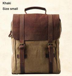 72c64747c688 Vintage Fashion Backpack Leather military Canvas backpack Men backpack  women school backpack school bag bagpack rucksack mochila