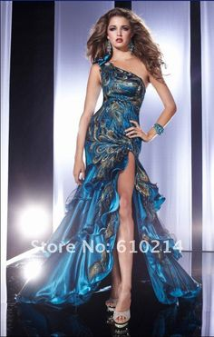 Vestido formal del uno-hombro del barrido del tren del pavo real de la pluma vestidos de noche del nuevo de la llegada de 2012 del estiramiento del satén hola baile de fin de curso más hermoso del lo