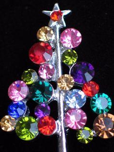 SILVER RHINESTONE PINK PURPLE BLUE RHINESTONE CHRISTMAS TREE PIN BROOCH JEWELRY #Unbranded #PINBROOCHJEWELRY