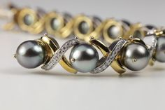 Tahitian & Diamond Pearl Bracelet, only one, Janet Deleuse Designer www.deleuse.com free shipping