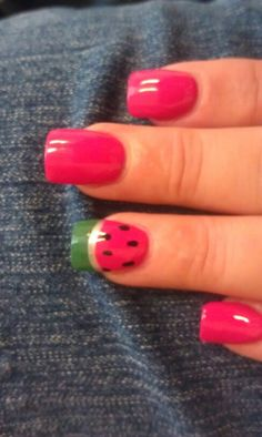 Watermelon nails #nails #manicure #nail_art #watermelon #summer_nails