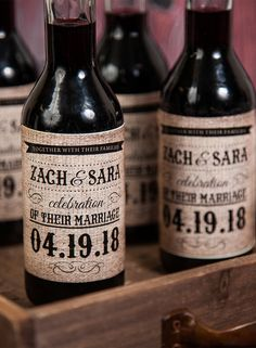 Add a special touch to your wedding with personalized mini wine labels