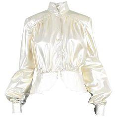 Preowned Yuki Of London Metallic Pale Gold Lamé Jacket, 1970s (£285) ❤ liked on Polyvore featuring outerwear, jackets, multiple, gold jacket, collar jacket, vintage jackets, white peplum jacket and drape jacket