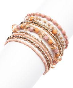 Gold & Pink Bead Stretch Bracelet Set on #zulily today!