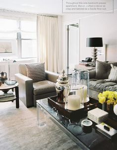 Masculine Living Room - Love the Black and Grey