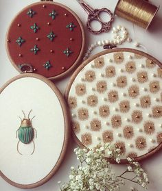 The influence of the natural creation is woven through a lot of my work. I like to incorporate iridescent materials such as gold leather, metals, beads and silks in my embroideries that are inspired by entomology and botanical illustrations. Modern Embroidery, Hand Embroidery Patterns, Vintage Embroidery, Beaded Embroidery, Cross Stitch Embroidery, Embroidery On Leather, Needlework, Creations, Illustrations