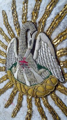 ANTIQUE FRENCH GOLD EMBROIDERY PELICAN  FRAGMENT CAPE RELIGIOUS PRIEST