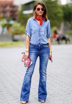 Jeans on Jeans lenço vermelho