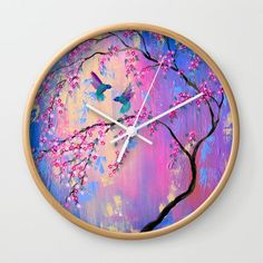 Your clock will make a stylish statement in your home or office.  (The original painting that is printed on your clock is also available at my other shop- SheerJoy.etsy.com !) +++++++++++++++++++++++++++++++++++++  SIZE- 10 diameter (25.4 cm)  +++++++++++++++++++++++++++++++++++++++++++ THE MATERIALS:  • high-impact plexiglass crystal face and printed image. • Backside hook for easy hanging. • Clock sits 1.75 deep and requires 1 AA battery (not included). • The outside surround is available…