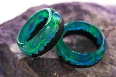 Wooden resin ring Polar Night Engagement wood rings Eco epoxy