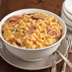 Cajun Macaroni and Cheese : Here in Louisiana Cajun country we love to cook and eat. Tired of just plain Mac and Cheese, Spice it up with smoked Sausage of your choice and Bell Peppers. Bursting with flavor.