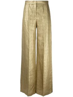 Shop Etro metallic tailored trousers. silk-linen