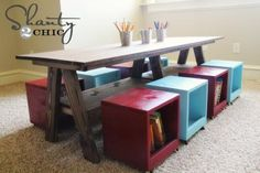 I want to make this!  DIY Furniture Plan from Ana-White.com  Make this table for $65 from solid wood!!! Free plans to build a double trestle table! Inspired by Pottery Barn Kids Hudson Play Table , but doubled in size for twice the fun and learning! Free easy step by step plans!