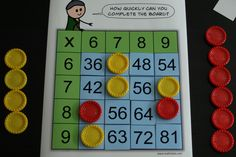 Practice those really tricky and tables with this unique little board game -multiplication Math Tutor, Teaching Math, Teaching Textbooks, Math For Kids, Fun Math, Math Resources, Math Activities, Times Tables Games, 6 Times Table