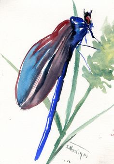Dragonfly Painting Blue Red Small Watercolor Art 7 X 5 In Dragonflies Artwork Gift Unique