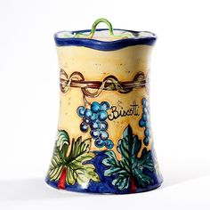 Intrada Italy Biscotti Jar Grape Accent Canister Made in Italy