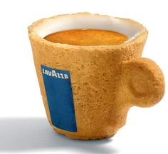 Edible espresso cup  *sugar-lining protects the cookie cup,  sweetens drink & cookie- Oh, hells yeah! #genius