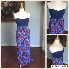 """Final mark down Gorgeous maxi brand new from Roxie soft dusty blue with tropical floral decor  in red and taupe colors. Lovely for summer. Comfy casual yet add some stunning statement piece for a dressier look. Measurements are under the bust is 13"""" stretches to 17"""" comfortably. Waist is 18"""" not real stretchy. Length is 51"""" inches. Fits a women's medium but a small medium. A size 4 might be best. Can fit a 6. Small scratch in bottom picture. It is lined so it does not go through. This is…"""