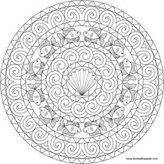 Goldfish mandala to color- also available as a transparent png