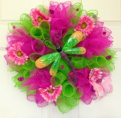 Items similar to Spring Mesh Wreath with Dragonfly Center on Etsy