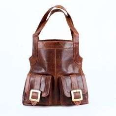 Large Leather Tote Purse with Pockets Vintage by TheLeatherStore