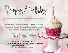 Valid for Mary Kay products when you shop with me, Sandra Chisholm 404-731-8431 www.marykay.com/schisholm44