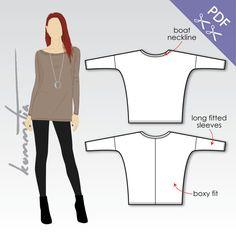XS-XL locker Tunika mit langen Ärmeln (PDF-Schnittmuster für Jersey)