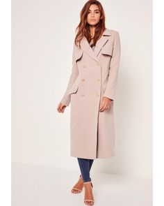 Missguided | Pink Longline Faux Wool Military Coat Nude | Lyst