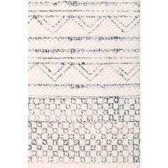 45975 3.0 x 5.0 - Mohr & McPherson 3.0 x 5.0 cotton dhurrie with black & white printed southwestern geometric style inspired design.