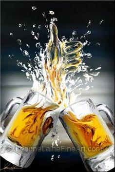 Beer mugs clink cheers beer steins Beer Photos, Beer Pictures, Beer Art, Wine Art, Mug Drawing, Bee Painting, Glass Beer Mugs, Beer Brewing, Mellow Yellow