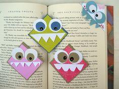 Halloweenin henkeen tehdään monsteri kirjanmerkkejä pitämään sivut ojennuksessa. Alkuperäinen idea täältä. Meidän perheessä kirjanme...