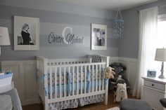Project Nursery - Boy Gray Striped Nursery Monogram Wall